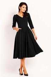 Czarna Sukienka Midi z Rozkloszowanym Dołem