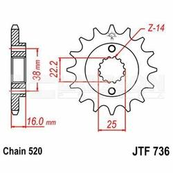 Zębatka przednia JT F736-14, 14Z, rozmiar 520 2200510 Ducati Supersport 900, Monster 900