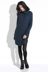 Granatowy Sweter-Tunika z Półgolfem