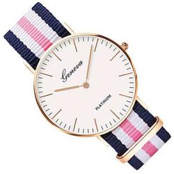 Zegarek damski męski GENEVA nylon TRIO róż złoty - TRIO