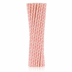 Słomki papierowe różowe w białe groszki 250 szt.