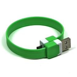 Kabel USB 2.0, USB A  M- USB micro M, 0.25m, zielony, Logo, blistr, na nadgarstek