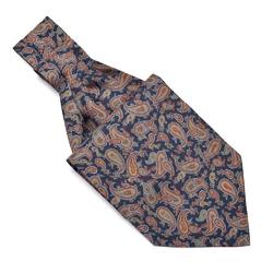 Elegancki granatowy fular jedwabny Hemley w kolorowy wzór paisley