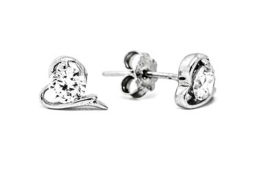 wkrętki ze srebra KW117 serce z cyrkonią