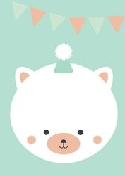 Kotek urodzinowy z czapką - plakat Wymiar do wyboru: 30x40 cm