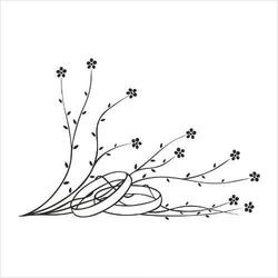 Stempel gumowy Obrączki w kwiatach