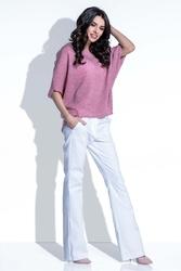 Różowa Bluzka Swetrowa z Kimonowym Rękawem 34