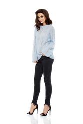 Błękitny Sweterek Oversize Luźny Ażurowy