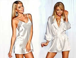 Halka Ibiza koszulka nocna + Szlafrok, podomka Panama - ecru