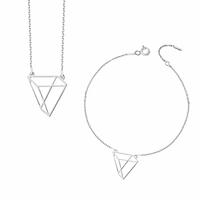 komplet biżuterii Geometria rodowane srebro 925