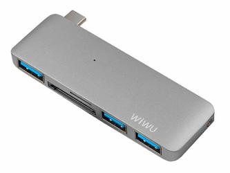 Adapter hub WiWU C1 5w1 USB-C - 3x USB 3.0 +micro +SD szary - Szary