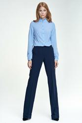 Granatowe Eleganckie Spodnie z Szerokimi Nogawkami
