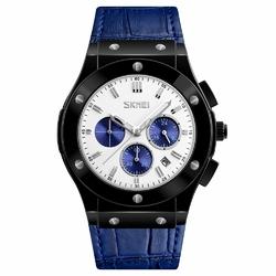 Zegarek męski SKMEI 9157 DATOWNIK skóra blue - BLUE