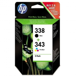HP oryginalny ink SD449EE, No.338 + No.343, blackcolor, 480330s, 2szt, HP 2-Pack, C8765EE + C8766EE