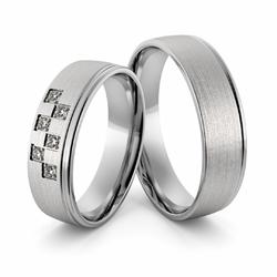 Obrączki ślubne z białego złota niklowego z brylantami - Au-998