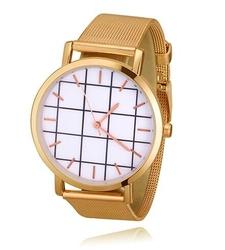 Zegarek DAMSKI MĘSKI kratka złoty MESH - złoty