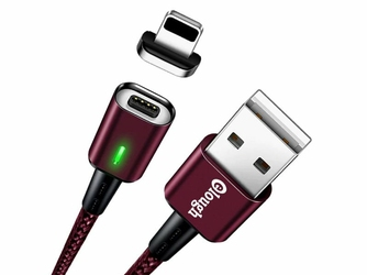 Kabel Magnetyczny Elough E05 USB Lightning QC 3.0 3A 1M Red - Bordowy