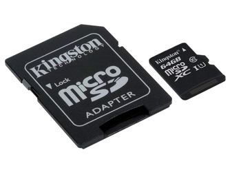 Kingston karta pamięci microSD XC 64GB class 10 + adapter SD