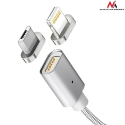 Maclean Kabel micro USB magnetyczny silver MCE160 - Quick  Fast Charge