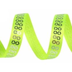 Taśma ozdobna z cekinami 10mm1m - zielony neon - ZIELNEO