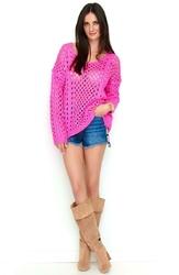 Ażurowy Różowy Sweter Oversize