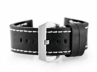 Pasek skórzany do zegarka W27 - PREMIUM - czarnybiałe - 24mm