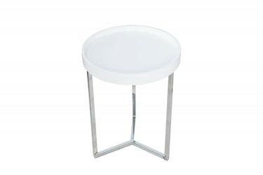 Stolik okrągły Modul biały srebrny
