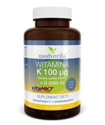 WITAMINA K2 MK-7 Vitamk7® 100µg + D 2000 IU - 120 kapsułek