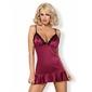 845-CHE-5 satynowa koszulka burgund i stringi Obsessive