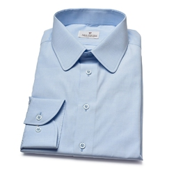 Błękitna koszula VAN THORN  z zaokrąglonym kołnierzykiem 37