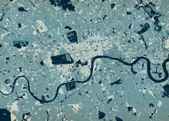Londyn - mapa w kolorze - fototapeta