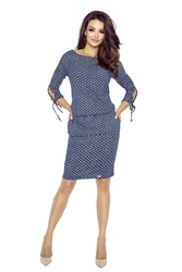 Jeansowa Sukienka w Kropki z Wiązaniem na Rękawach