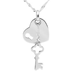 Naszyjnik pr. 925 serce z kluczykiem Grawer