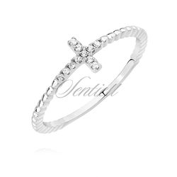 Srebrny pierścionek pr.925 krzyżyk z białą cyrkonią