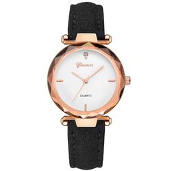 Damski zegarek GENEVA pasek NUBUK CZARNY - BLACK WHITE
