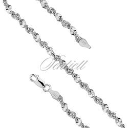 Bransoletka ozdobna srebrna pr. 925 taśma skręcana z kulkami Ø 040 waga od 4,3g - Bez powłoki