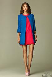 Niebieski Elegancki Długi  Żakiet z Rękawem 34