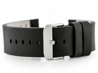 Pasek skórzany do zegarka W39 - czarny - 24mm