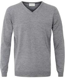 Sweter  pulower v-neck z wełny z merynosów szary XXXL