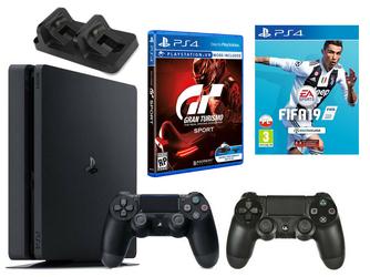 Konsola Sony PS4 1TB Slim + 2 Pady + FIFA 19 + Gran Turismo Sport + Ładowarka