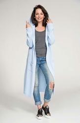 Błękitny Długi Sweter Maxi z Kapturem