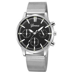 Zegarek MĘSKI Elegancki GENEVA srebrny czarny - silver black