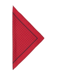 Czerwona poszetka jedwabna w czarne grochy z ramką