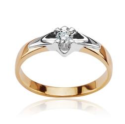 pierścionek złoty elegancki diament