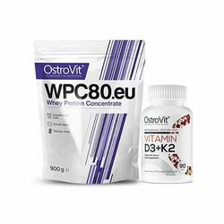 OSTROVIT WPC 80.eu Standard - 900g + Vitamin D3 + K2 - 90tabs - Strawberry