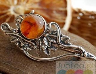 SECESJA - srebrna brosza z bursztynem