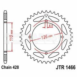 Zębatka tylna stalowa JT R1466-47, 47Z, rozmiar 428 2302475 Kawasaki KX 65