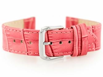 Pasek skórzany do zegarka W41 - różowy - 22mm
