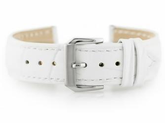 Pasek skórzany do zegarka W64 - biały - 22mm