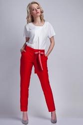 Czerwone Proste Spodnie z Wiązana Szarfą